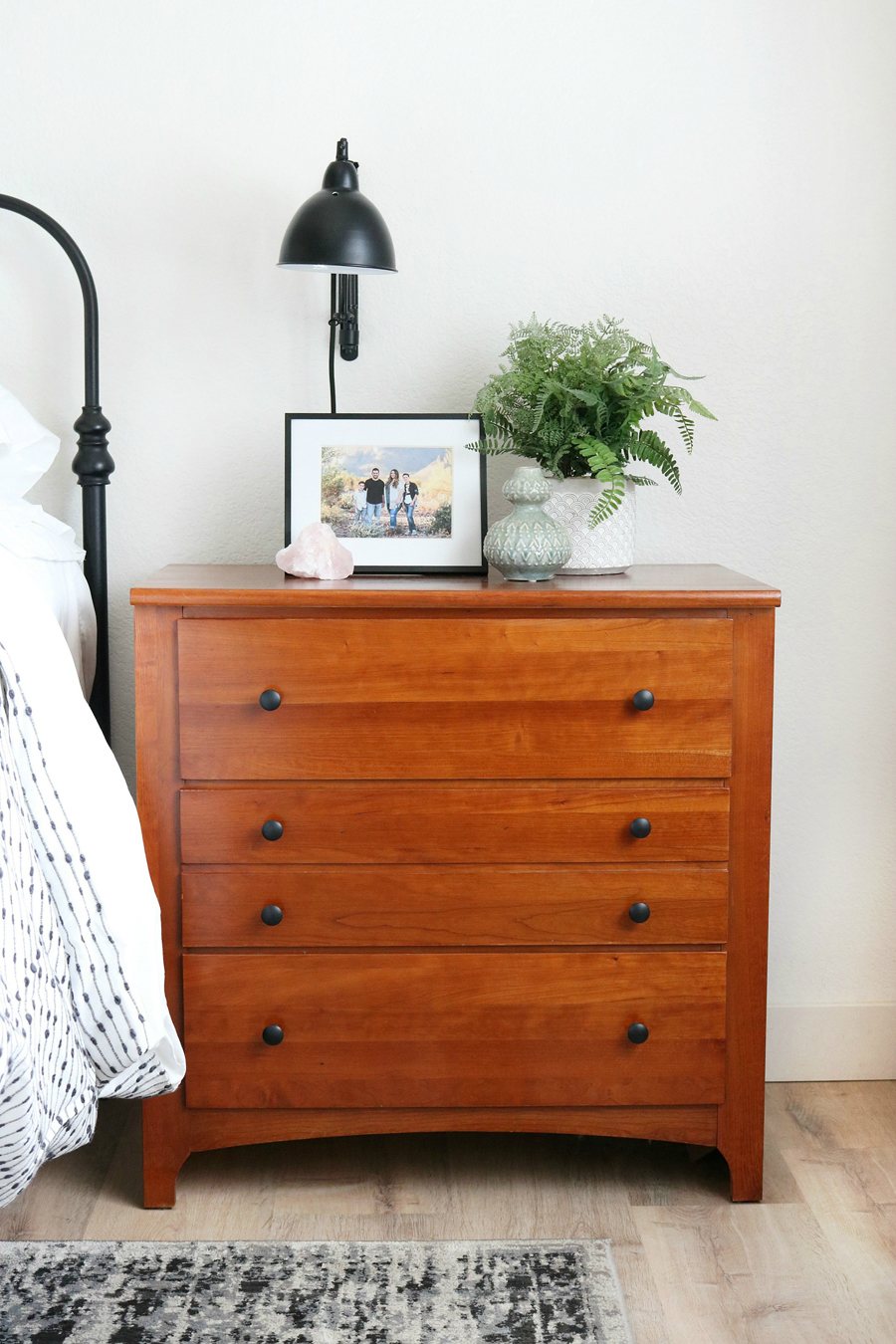 Boho Inspired Bedroom Nightstand Decor with a Teak Nightstand
