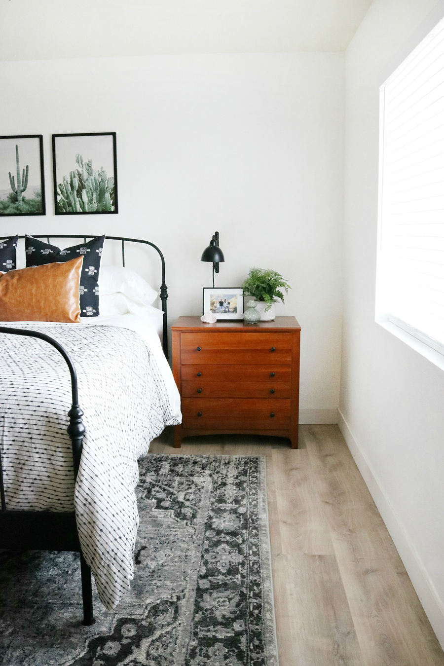 Boho Inspired Decor with Teak Nightstands