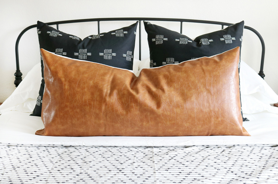 Mudcloth Inspired Fabric Pillow with Faux Leather Pillow