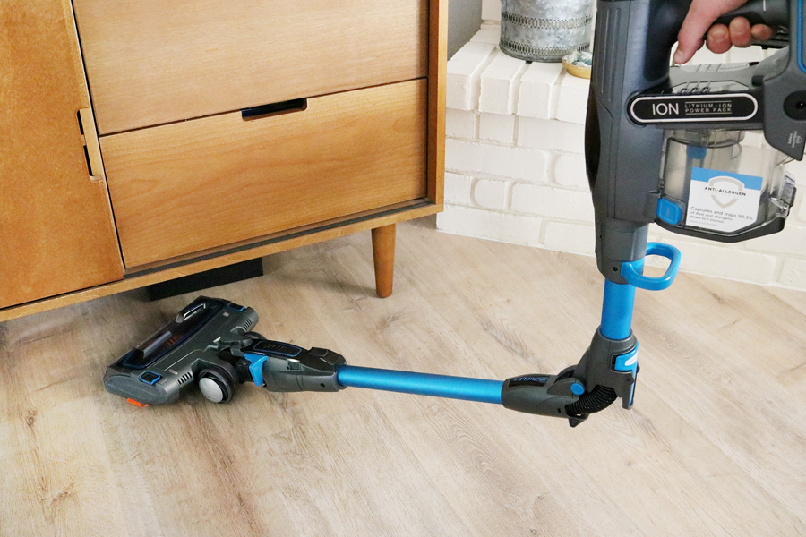 Shark IONFlex Cordless Ultra-Light Vacuum can get under furniture easily.
