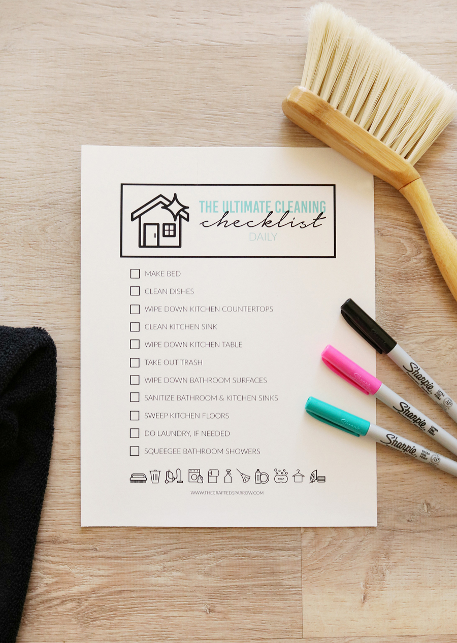 The Ultimate Cleaning Checklist - Daily Printable Checklists