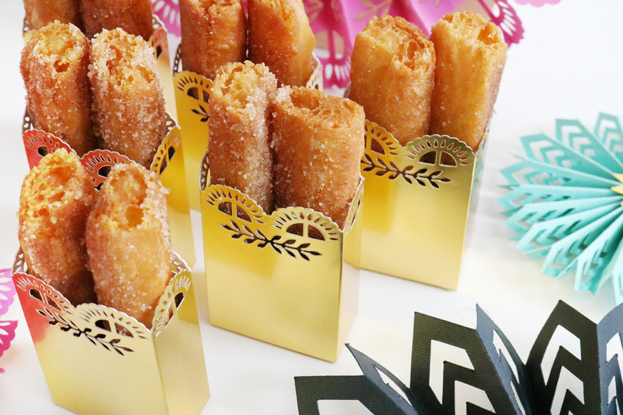 Easy DIY Fiesta Inspired Cake Toppers & Treat Bags - Gold Foil Treat Bags made using the scoring wheel.