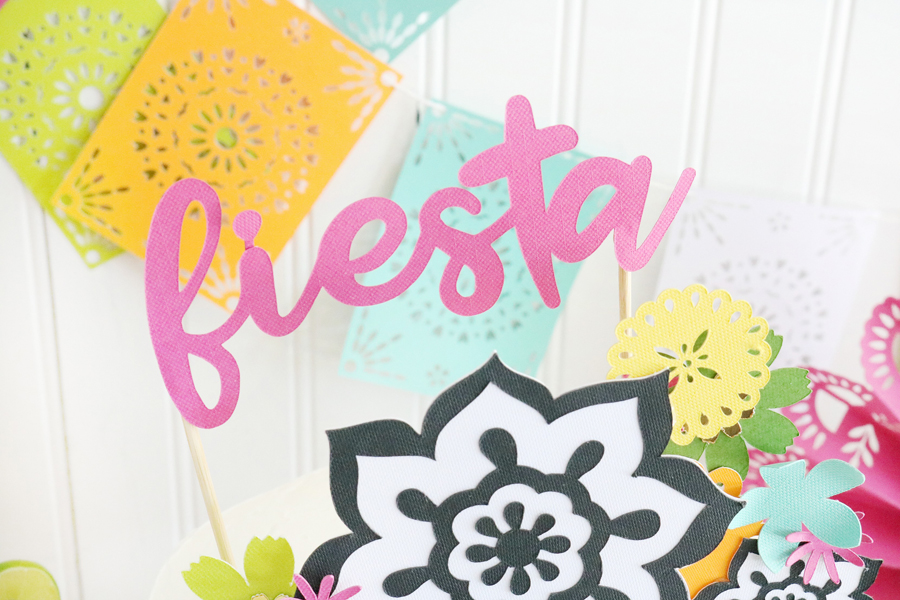 Easy DIY Fiesta Inspired Cake Toppers & Treat Bags - Use paper and your cricut maker to create custom cake decor.