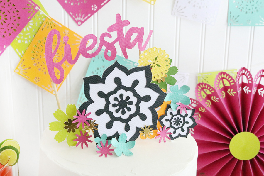 Easy DIY Fiesta Inspired Cake Toppers made with the Cricut Maker