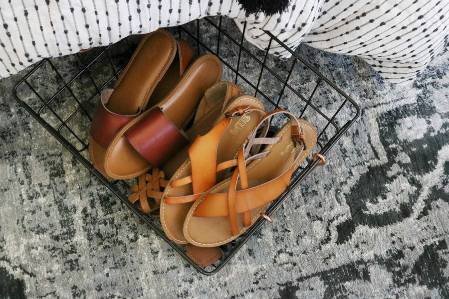 Easy Organization Idea - Hide shoes in a cute basket under the bed