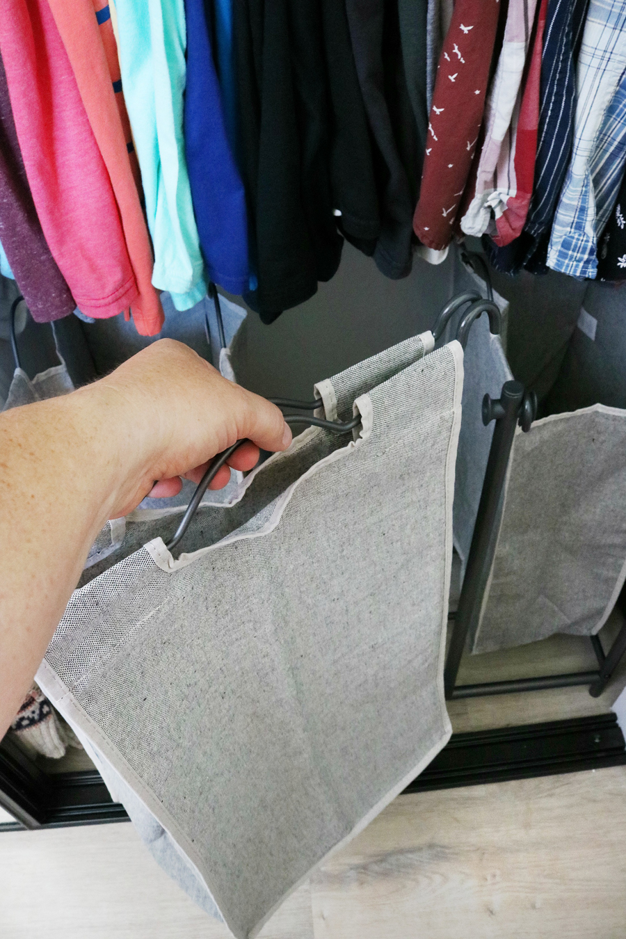 Easy Organization Idea - Removable laundry bag sorter