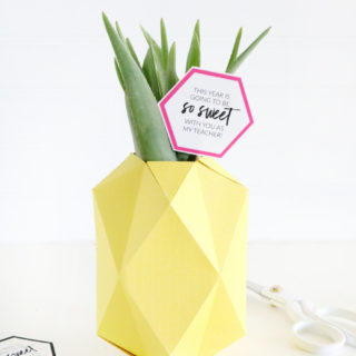 Paper Pineapple Vase Back to School Teacher Gift