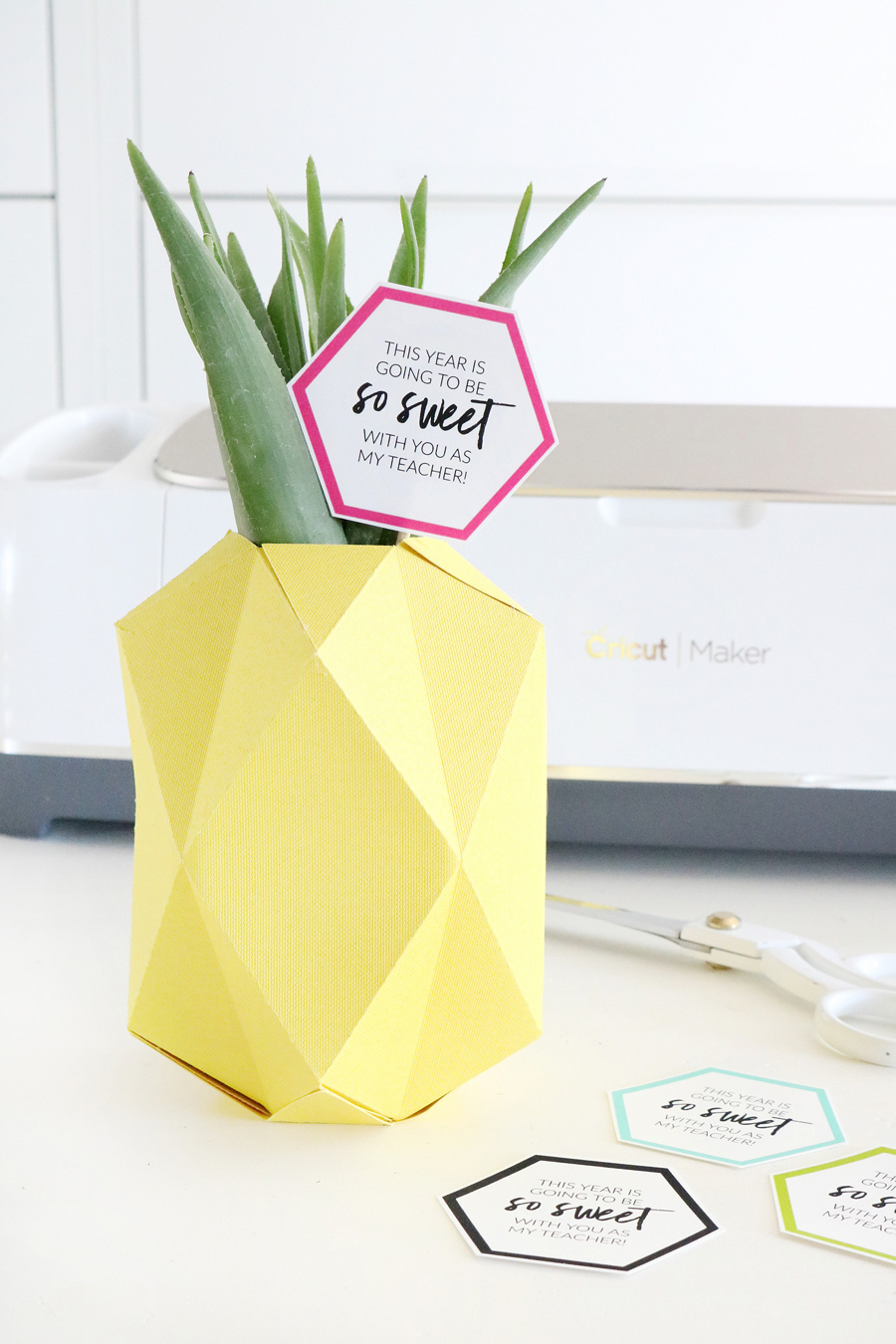 Paper Pineapple Vase made with the Cricut Maker and Single Scoring Wheel