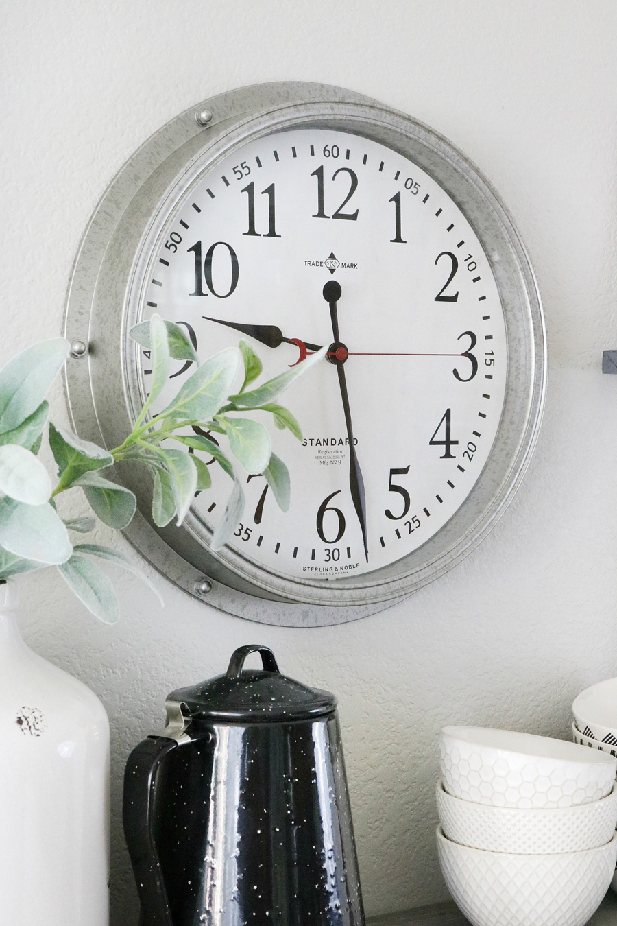 Farmhouse Inspired Coffee Bar Station - Better Homes and Gardens Galvanized Wall Clock