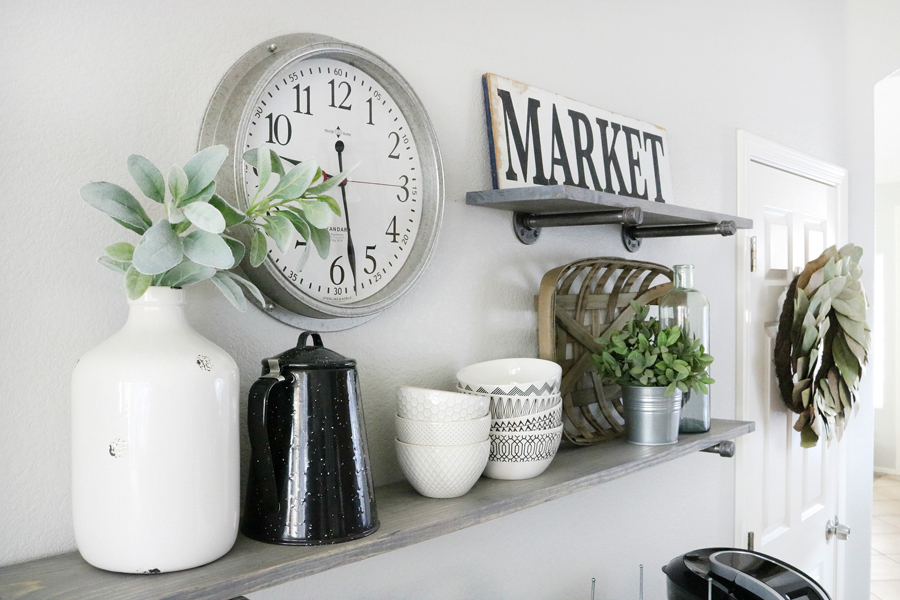 Farmhouse Inspired Kitchen Decor with DIY Pipe Shelving