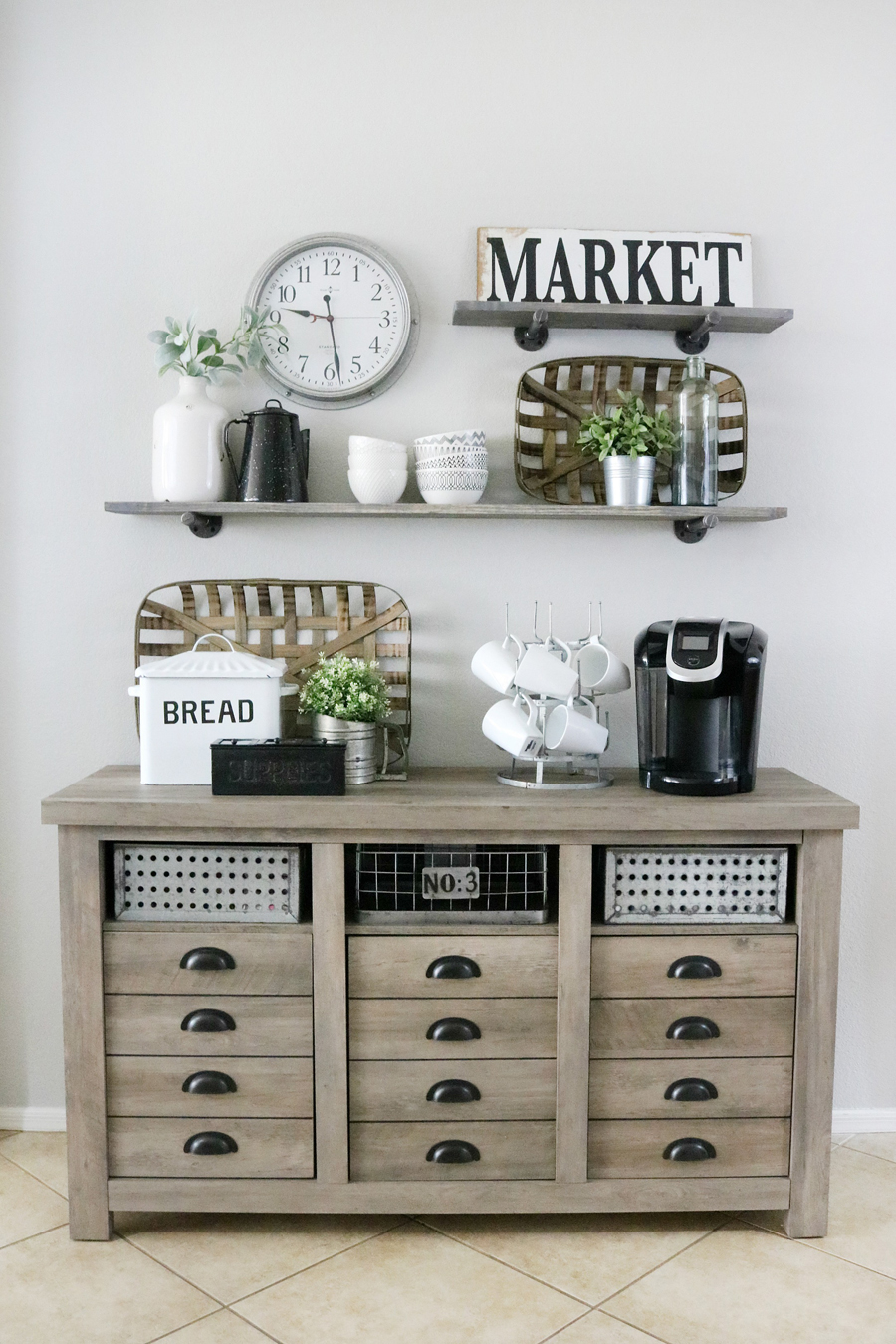 Modern Farmhouse Inspired Coffee Bar Decor