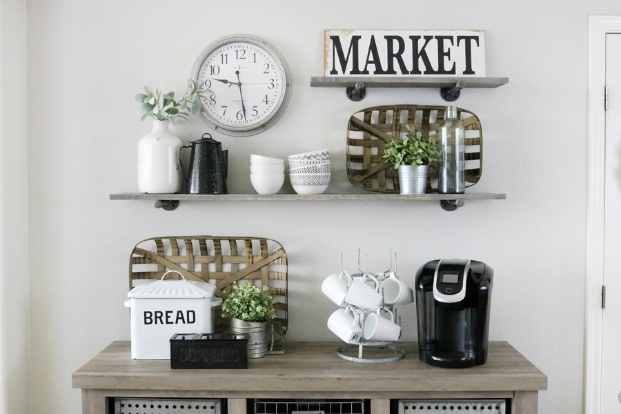 Modern Farmhouse Inspired Wall Decor with DIY Pipe Shelving