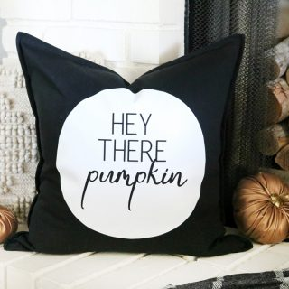 Black & White Fall Themed Pillow