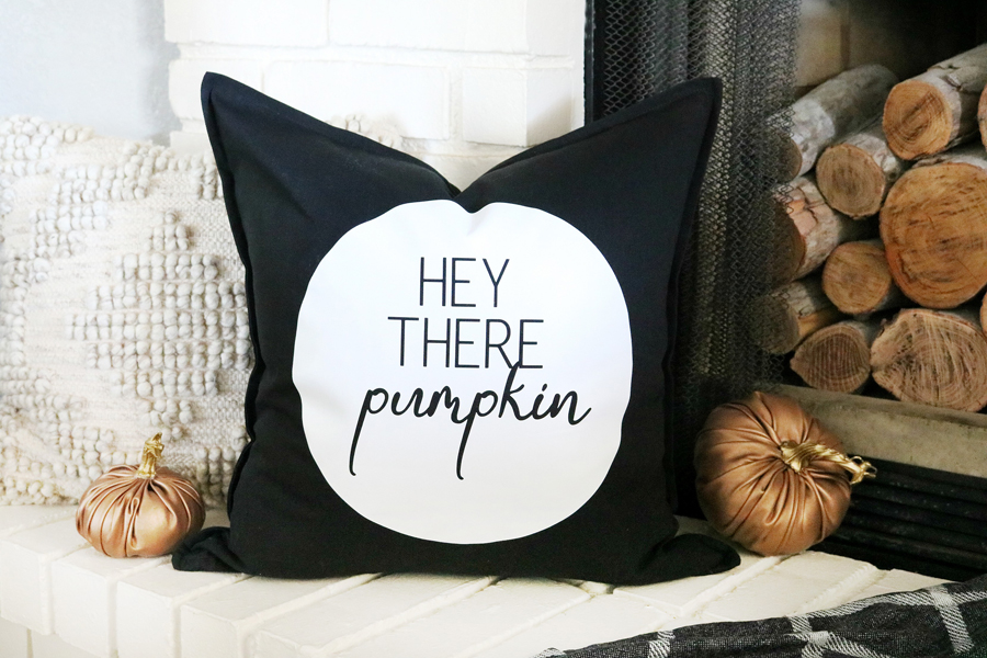 DIY Black & White Fall Inspired Pillow Made with The New Cricut EasyPress 2