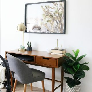 Mid-Century Boho Desk in Bedroom