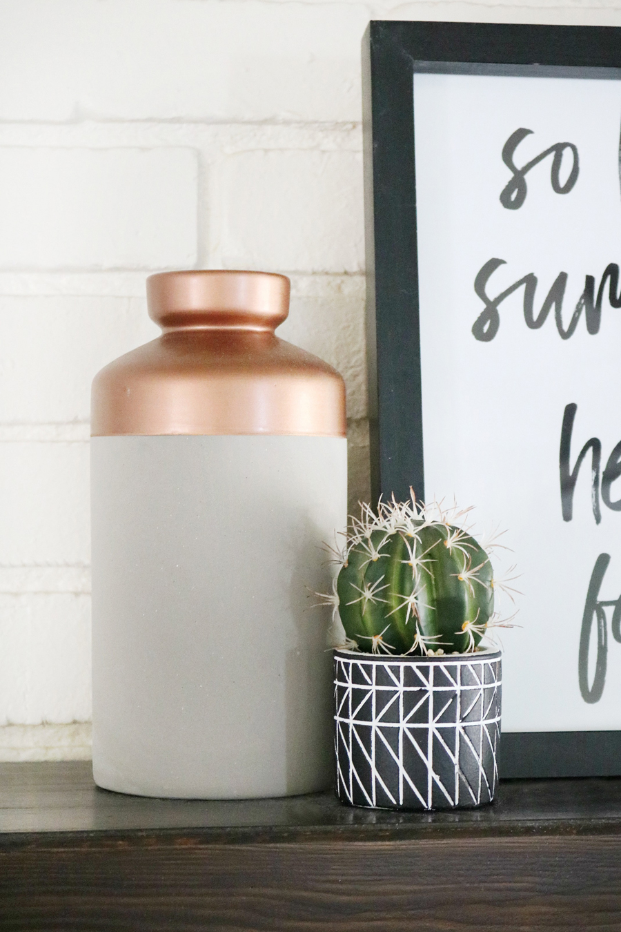 Modern Concrete and Copper Vase Fall Decor
