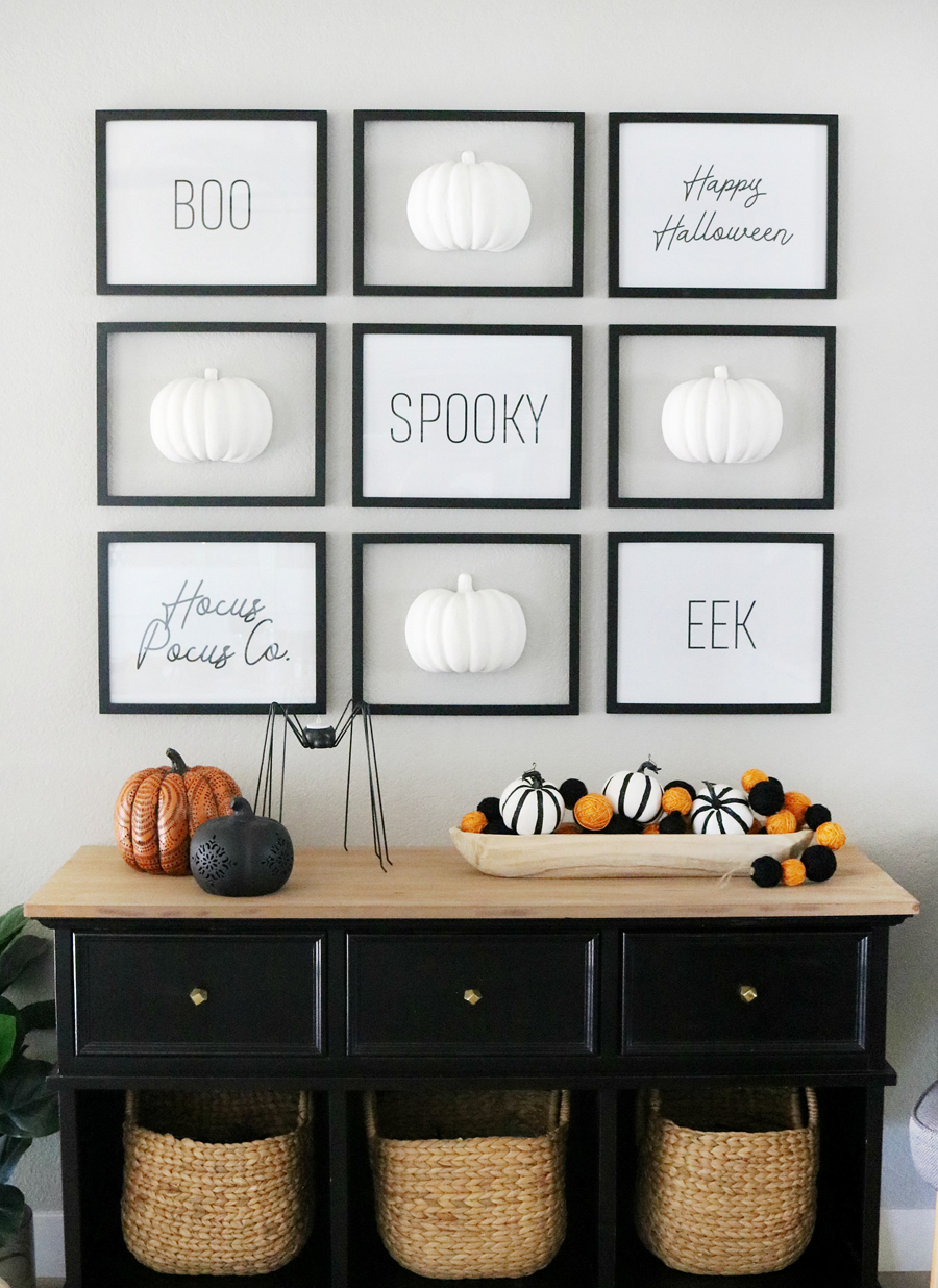 Black & White Simple and Modern Halloween Faux Pumpkin Gallery Wall Decor
