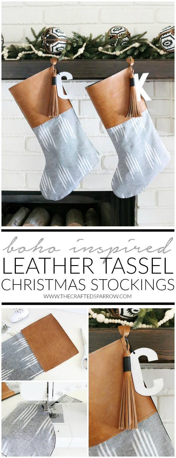 DIY Boho Inspired Leather Tassel Christmas Stockings