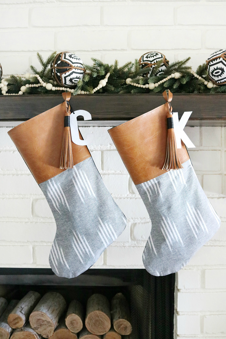 DIY Boho Leather Tassel Christmas Stockings