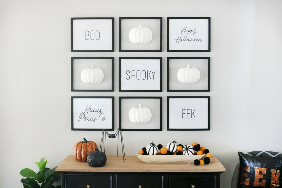 Black White Simple Halloween Pumpkin Gallery Wall Entryway And Decor