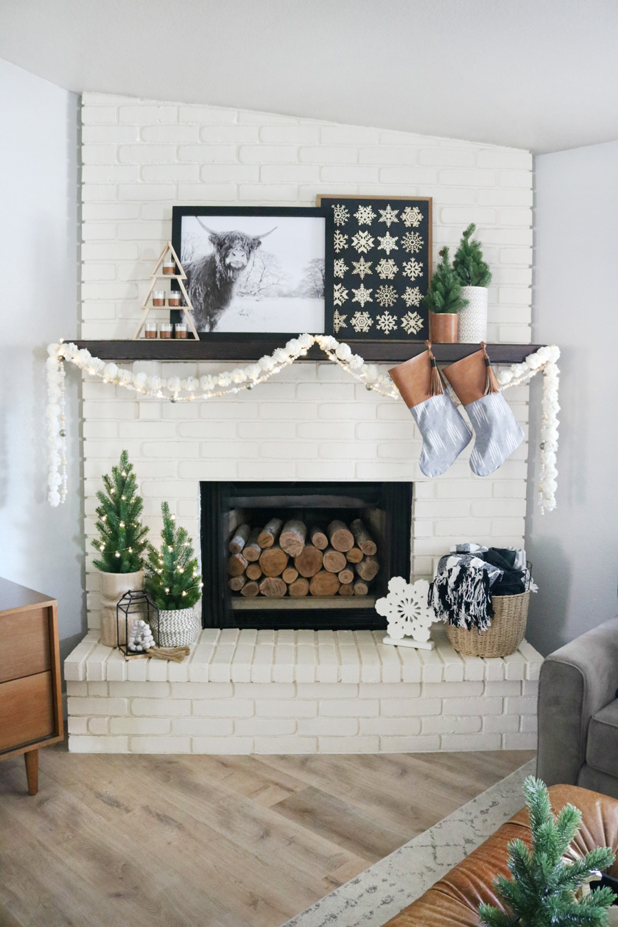 Black & White Boho Casual Christmas Mantel Decor