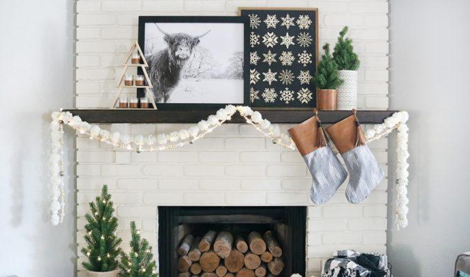 Black & White Casual Boho Christmas Mantel Decor Ideas