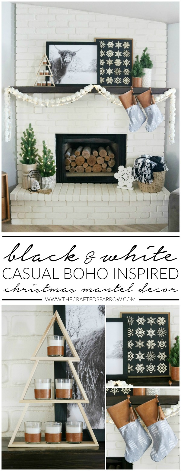 Black & White Casual Boho Christmas Mantel Decor Ideas