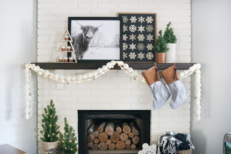 Black & White Casual Boho Christmas Mantel Decor