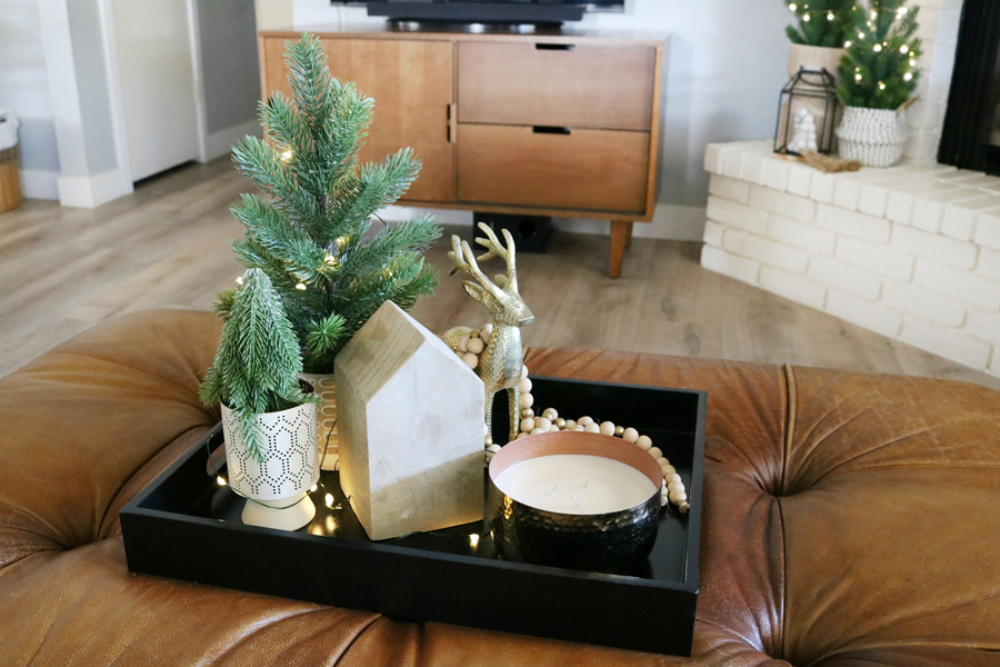 Casual Boho Christmas Ottoman and Coffee Table Decor