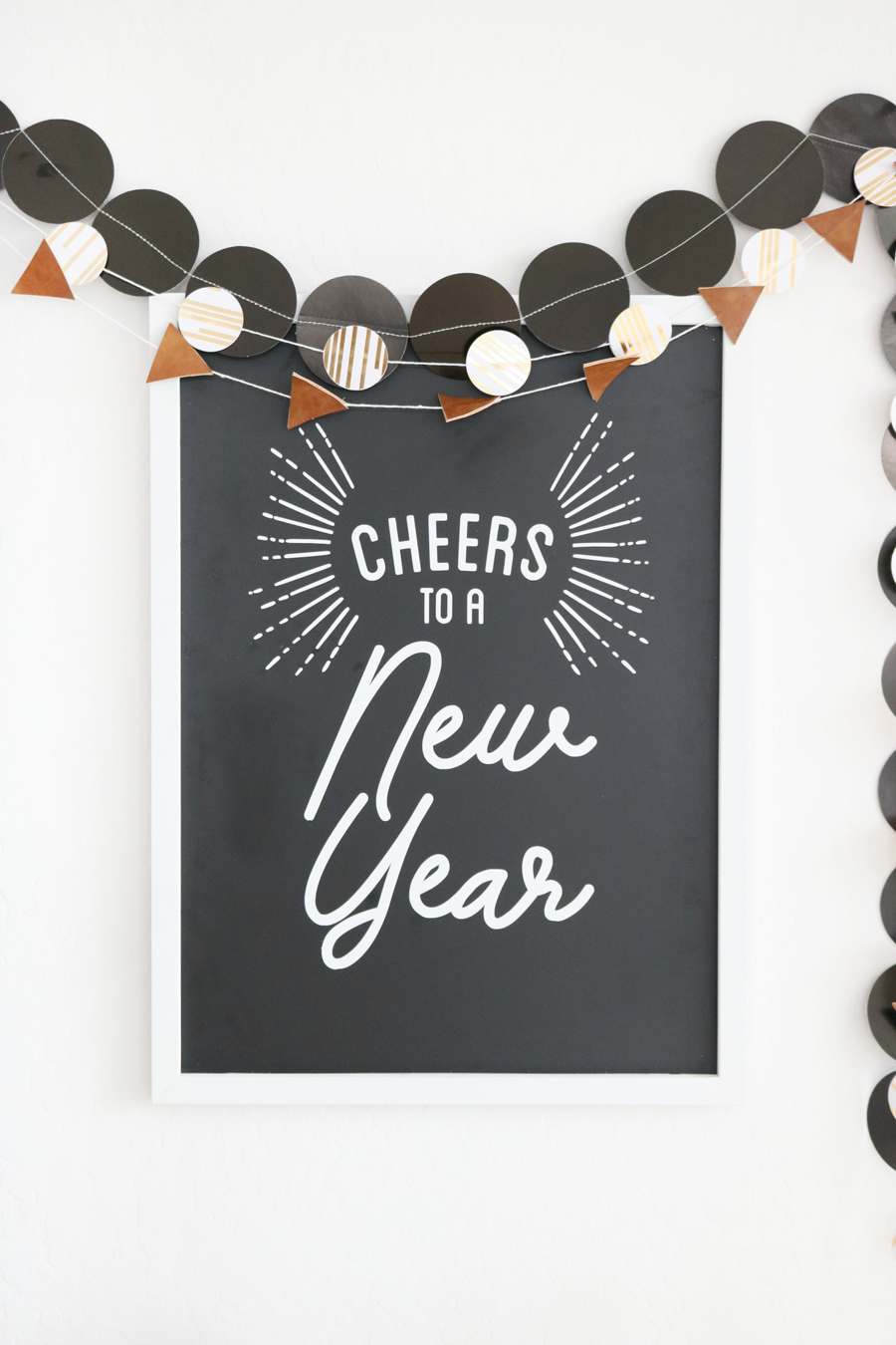 Black & White New Year's Eve Bar Cart Decor - DIY New Year's Eve Sign
