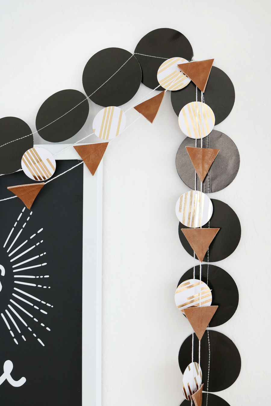 Black & White New Year's Eve Bar Cart Decor - Easy DIY Paper and Faux Leather Garlands