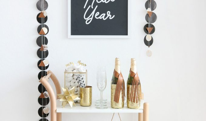Black & White New Year's Eve Bar Cart Ideas