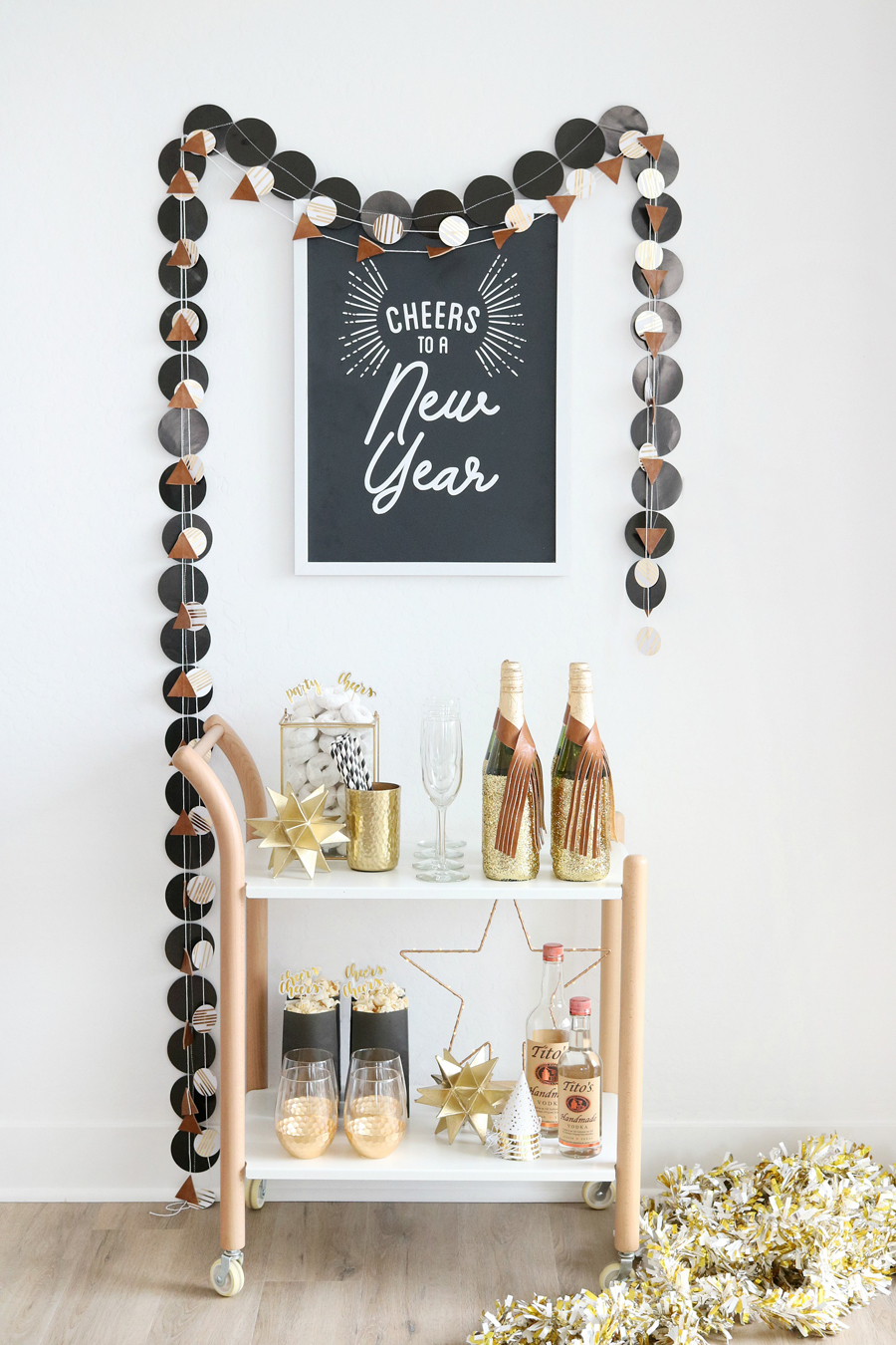 Black & White New Year's Eve Bar Cart Decor Ideas