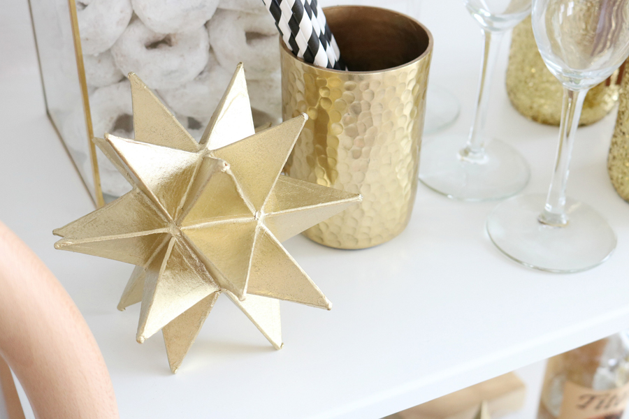 Black & White New Year's Eve Bar Cart Styling - DIY Gold Star Paper Mache Decor