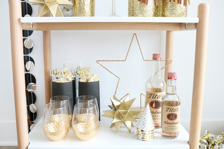 Black & White New Year's Eve Bar Cart Styling Tips