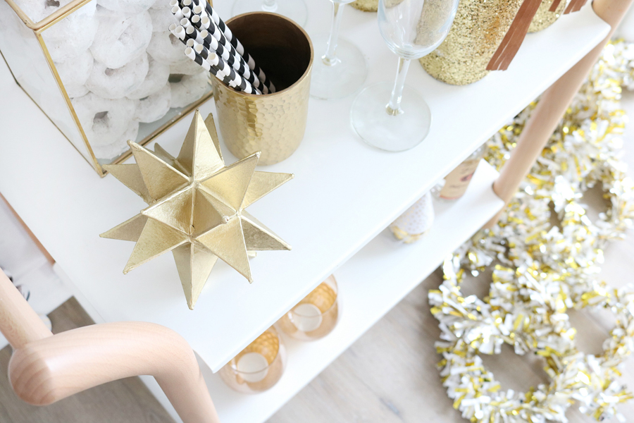 Black & White New Year's Eve Bar Cart Styling