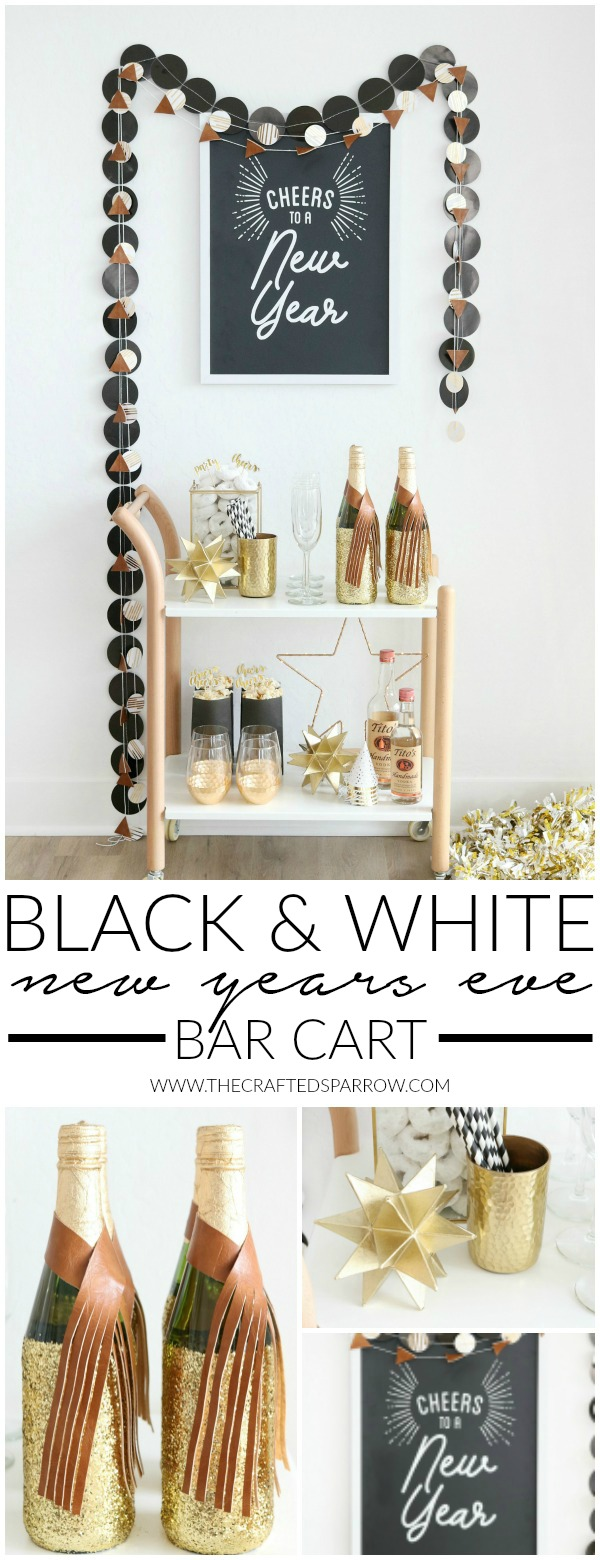 Black & White New Year's Eve Bar Cart
