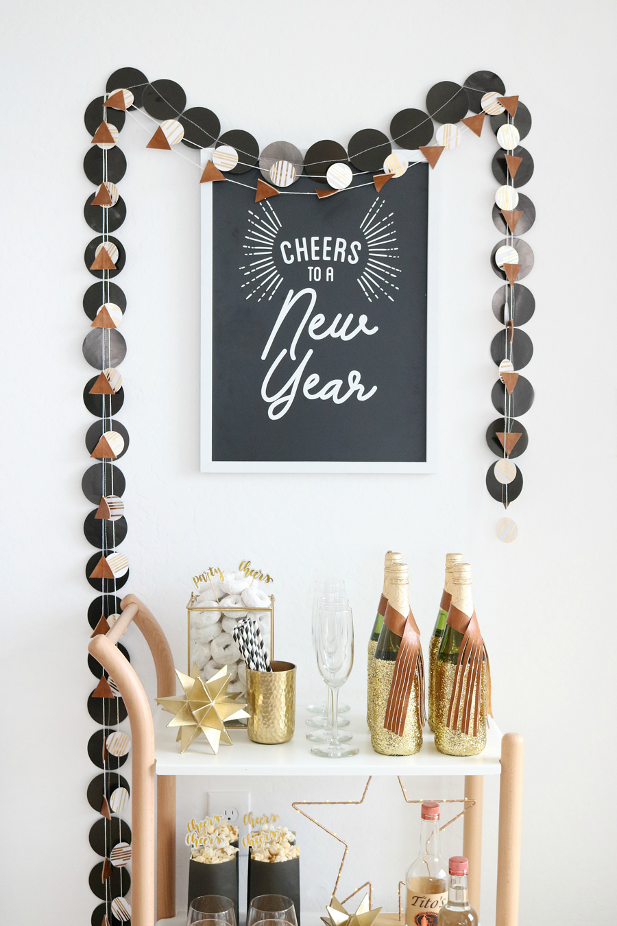 Easy New Year's Eve Bar Cart Decor
