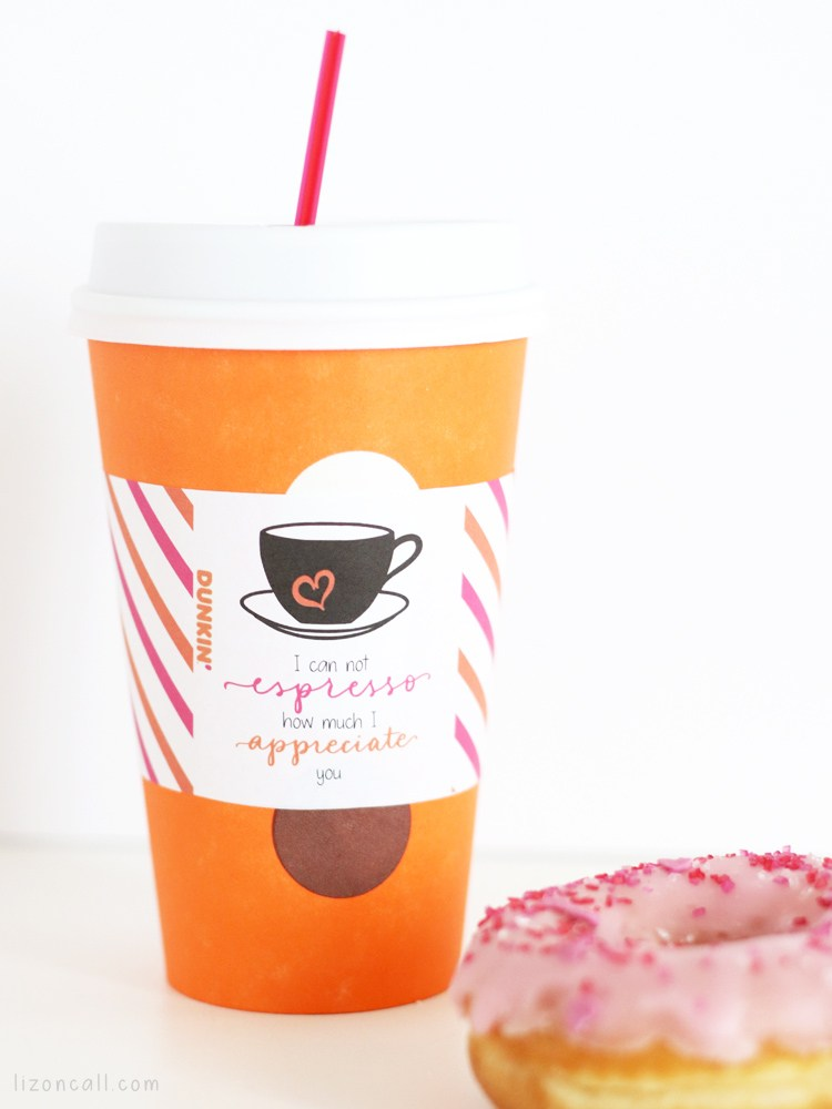Dunkin Donuts Free Printable Valentine's Day Cup Wrapper