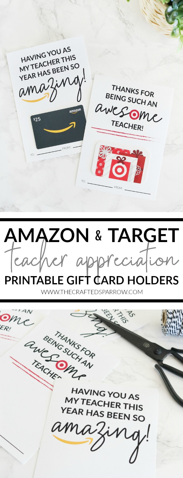 Amazon & Target Teacher Appreciation Printable Gift Card Holders