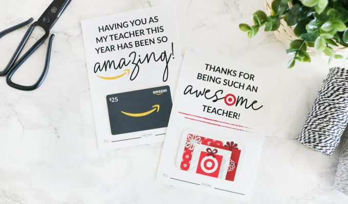 Amazon and Target Teacher Appreciation Printable Gift Card Holders