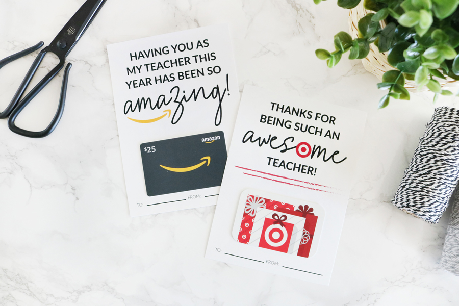 picture about Amazon Gift Card Printable named Amazon and Aim Trainer Appreciation Printable Present Card