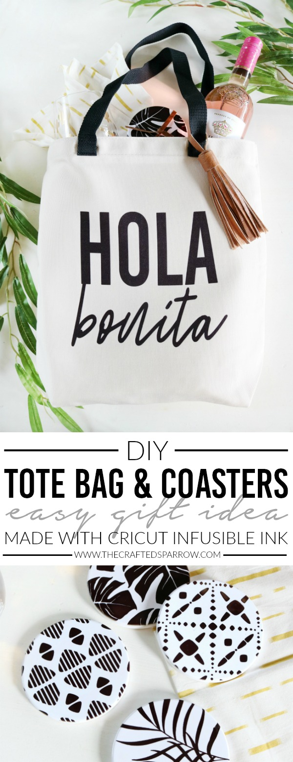 DIY Tote Bag & Coasters Easy Gift Idea Made with Cricut Infusible Ink