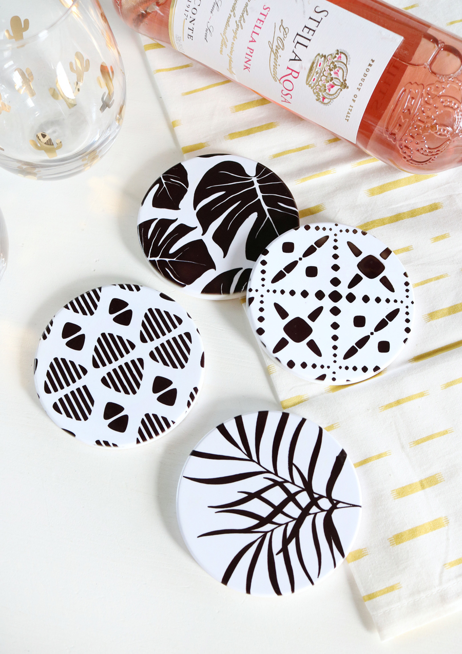 DIY Tropical Inspired Coasters made with Cricut Infusible Ink