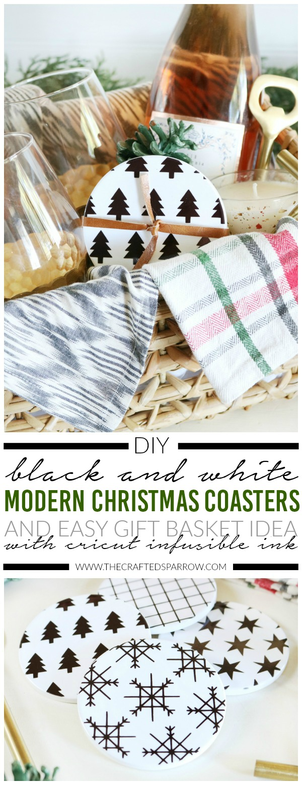 Black & White Modern Christmas Coasters Gift Idea with Cricut Infusible Ink