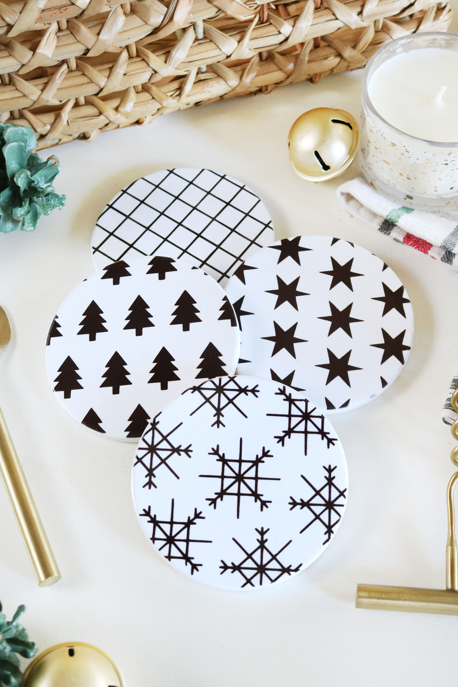 DIY Black & White Modern Christmas Coasters with Cricut Infusible Ink