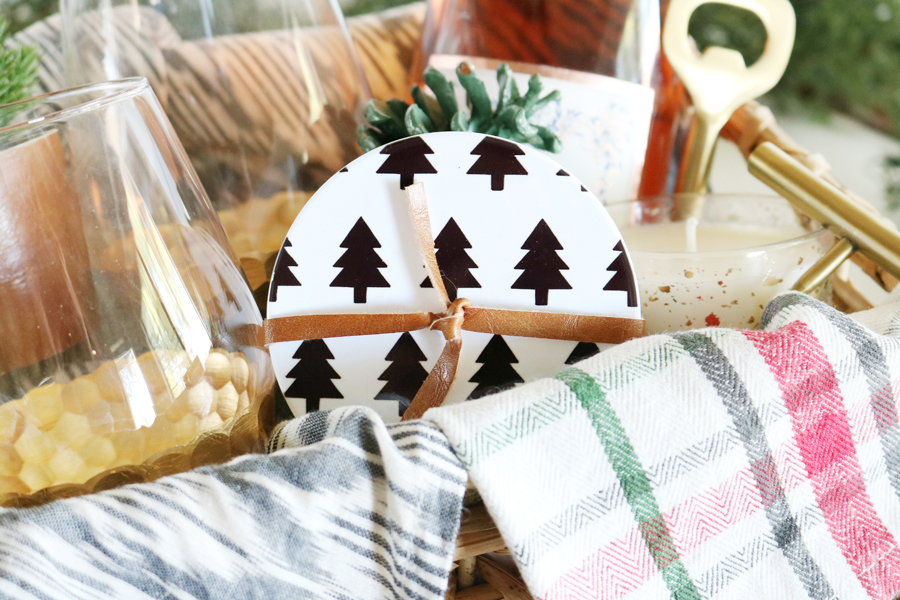 DIY Modern Christmas Coasters and Gift Basket Idea