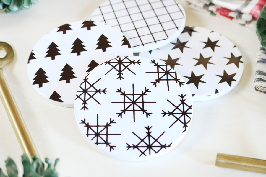 DIY Modern Christmas Coasters