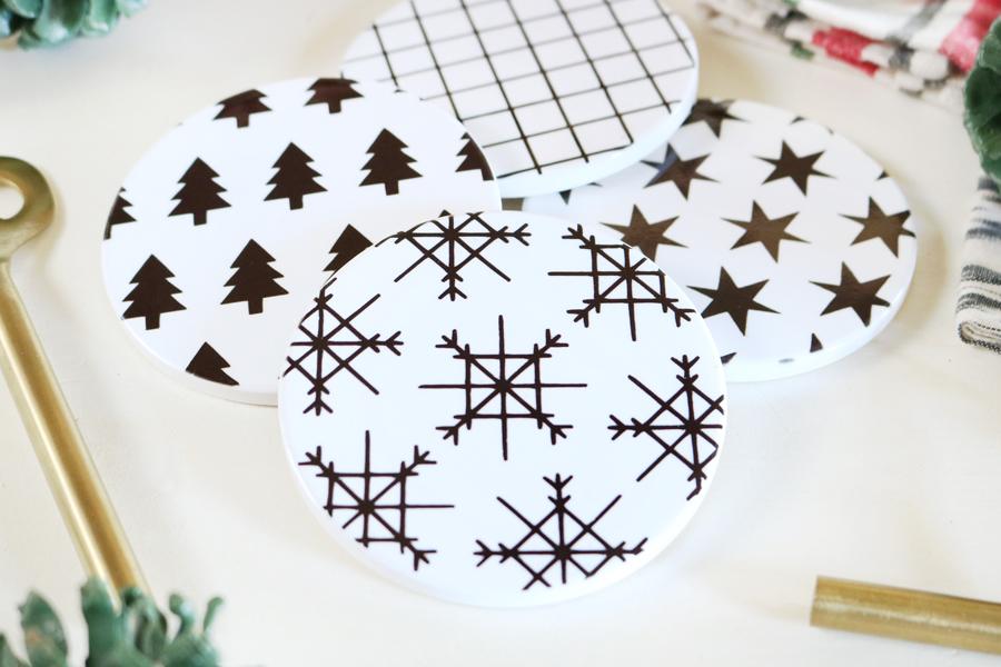 DIY Modern Christmas Coasters