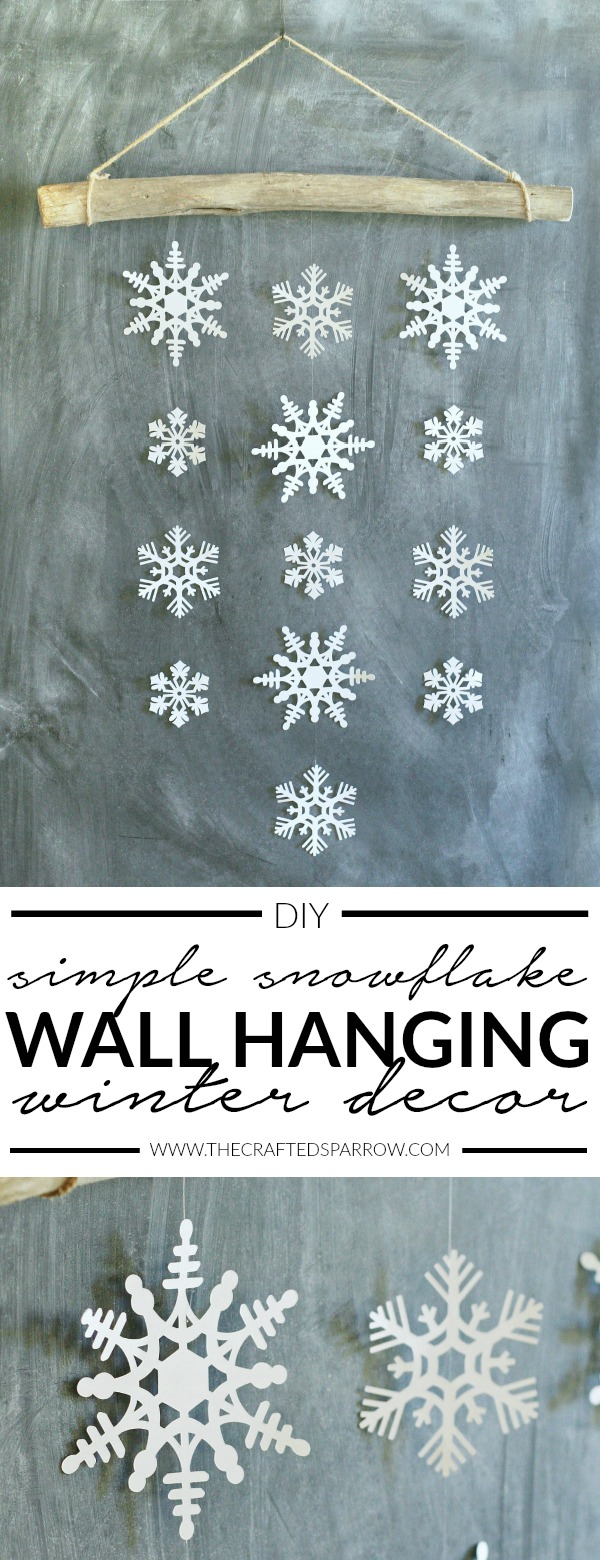 DIY Simple Snowflake Wall Hanging Winter Decor